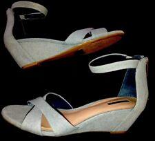 "BCBGENERATION-Light Blue Denim Fabric-Zip Back-Ankle Strap-3.25""Wedge Sandal-12M"