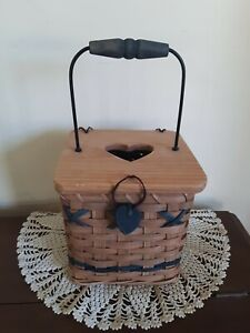 Cute Square Lidded Handled Basket Tissue Box Holder- Blue Accents/Heart