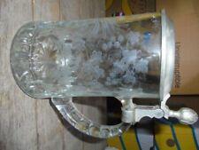 Bierkrug Bierseidel mit Zinndeckel Hopfen und Malz