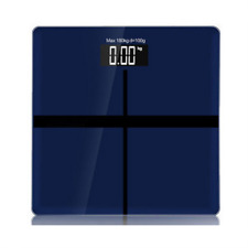 Digital Body Weight Bathroom Scale 180kg with Temperature Measurement-BLUE