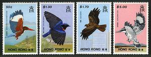 Hong Kong 519-522, MNH Oiseaux. Kingfisher, Fujien Niltava, Noir Kite, 1988