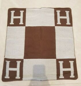 Brown Check H Wool Square Hermes Nordic Style Cushion Cover 65CM Extra Large