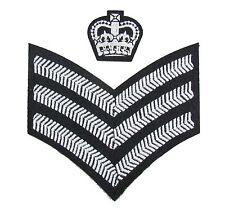 Badge C-Sergeant Crown & Chevron Uniform  SNCO Rank White on Black R1816-1815