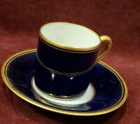 Porcelaines Pallas Cobalt Blue Gold Trim Limoges France Demitasse Cup & Saucer