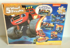 """Set of 5 Kids WOODEN Puzzles w/ Storage  """"BLAZE and the MONSTER MACHINES"""" - NEW!"""