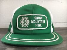 K Brand Hat Snow Mountain Pine Mill Vtg Patch Trucker Mesh Workwear Snapback