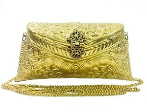 Indian Vintage Brass golden Purse antique Ethnic clutch Handmade Women metal bag