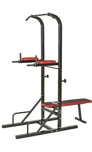 Gym Power Tower Pull Up Dip Station With Adjustable Foldable Weights Bench