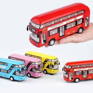 London  Double-Decker Tour  City Bus Sound Light Pull Back Bus Kids Toy{ Metal }