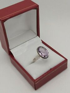 Vintage Silver & Amethyst dress ring(Size O)