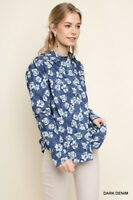 UMGEE Floral Print Button Up Long Sleeve Top