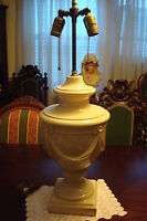 Ceramic Table Lamp Double Lights, ornated with ceramic drapes