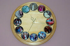 Wooden Clock Round with your Personalized Pictures Made to order Measures 11""