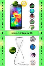 9H Panzerglas + TPU-Silikon-Hülle transparent für Samsung Galaxy S5