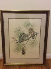 The Screech Owl By Albert Earl Gilbert 1976 Signed Framed  Engraving.