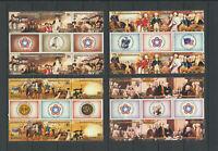 Surrender of Burgoyne at Saratoga Barbuda #234 - 237 Mint NH 2 Strips + Labels