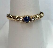 14K Yellow Gold Sapphire Cabochon and Diamond Ring Size 9