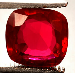 7.90 Cts. Fancy Natural Mozambique Red Ruby Cushion Shape Certified Gemstone
