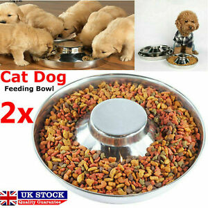 2x Silver Puppy Dog Pet Litter Food Feeding Weaning Stainless Feeder Bowl Dish