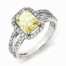 Cheryl M Sterling Silver Cubic Zirconia Canary Square Ring Size 7 #1148