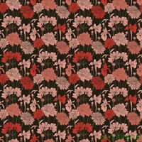 "FQ Garden Delights Scarlet Blk Iris Dahlia Cotton Fabric 18""Lx21""W-BTFQ"