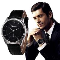 Retro Herren Sport Armbanduhren Leder Analog Quarz Mode Schwarz Casual Uhren Uhr