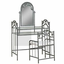 Transitional Nickel Bronze Metal Make Up Vanity and Stool with Mirror