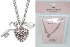 JUICY COUTURE simulated crystal pearl Key & pink Heart Charm Necklace CARDED new