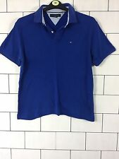 URBAN Vintage Retro Blue TOMMY HILFIGER manica corta Polo Top T Shirt M #40