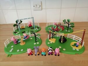 PEPPA PIG PLAYGROUND BUNDLE  ROUNDABOUT, SEE SAW, SWINGS, TYRE SWING  & FIGURES