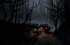 Incorniciato stampa-CAVALLO DISEGNATO carrozze in inseguita da una confezione di Wolfs (immagine)
