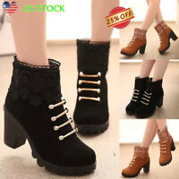 Women's Ladies High Chunky Heel Ankle Boots Zipper Patchwork Casual Martin Shoes