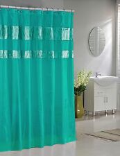 Teal Faux Silk Fabric Shower Curtain: Shimmering Metallic Accents