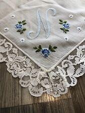 Wedding Vtg handkerchief monogram N Floral Blue Shabby Lace Home Chic Hankie