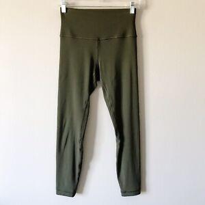 Lululemon Align Pant II Dark Olive Green Size 6 Highrise 7/8 Length Nulu Fabric