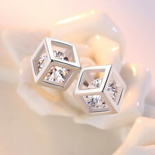 Real 925 Silver Women AAAA Zircon Crystal Square Stud Earrings Jewelry