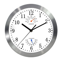 Magho Battery Operated Silent Non-ticking Indoor Wall Clock with Temperature & H