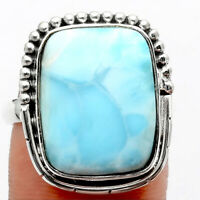 Larimar (Dominican Republic) 925 Sterling Silver Ring s.8 Jewelry 5423