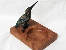 Antike Wiener Bronze - Figur / Eisvogel auf Marmor - Visitenkartenschale