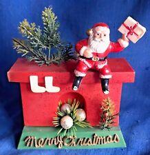 Vintage Blow Mold Plastic Santa Claus on Fireplace Christmas Ornament Figure MCM