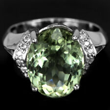 GENUINE AAA GREEN AMETHYST 13X10 MM. & WHITE CZ STERLING 925 SILVER RING SIZE 7