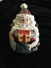 "Fitz and Floyd ""Homespun Holidays"" Santa Lidded Jar New in box"