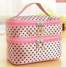 Polka dot Pink Cosmetic Bag Makeup Case Holder Handbag Organizer Zipper