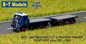 B-T MODELS N037 1:148 N GAUGE AEC MATADOR FLATBED & DRAWBAR TRAILER PICKFORDS