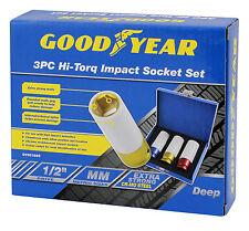 Goodyear 3pc Deep Impact Tuerca Socket Rueda De La Aleación De 1/2 Pulgada Disco 17, 19, 21 Mm