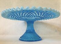Fenton Blue Hobnail Opalescent Pedestal Cake Stand Blue Milk Glass Ruffled Edge