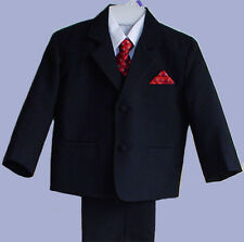 BOYS BLACK WEDDING RING BOY SUIT TUXEDO W/ VEST SIZE 2T