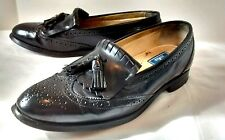Bostonian Black Leather Kiltie Tassel Oxford Loafers 9.5 Made in USA