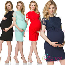 Maternity Short Sleeves Round Neck Knee Lenght Peganancy Dress With Lace FK1573