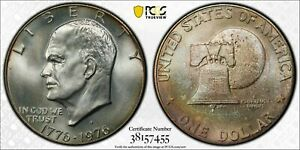 """1976-S SILVER EISENHOWER """"IKE"""" DOLLAR PCGS MS65 RAINBOW TONED DEEP COLOR (DR)"""